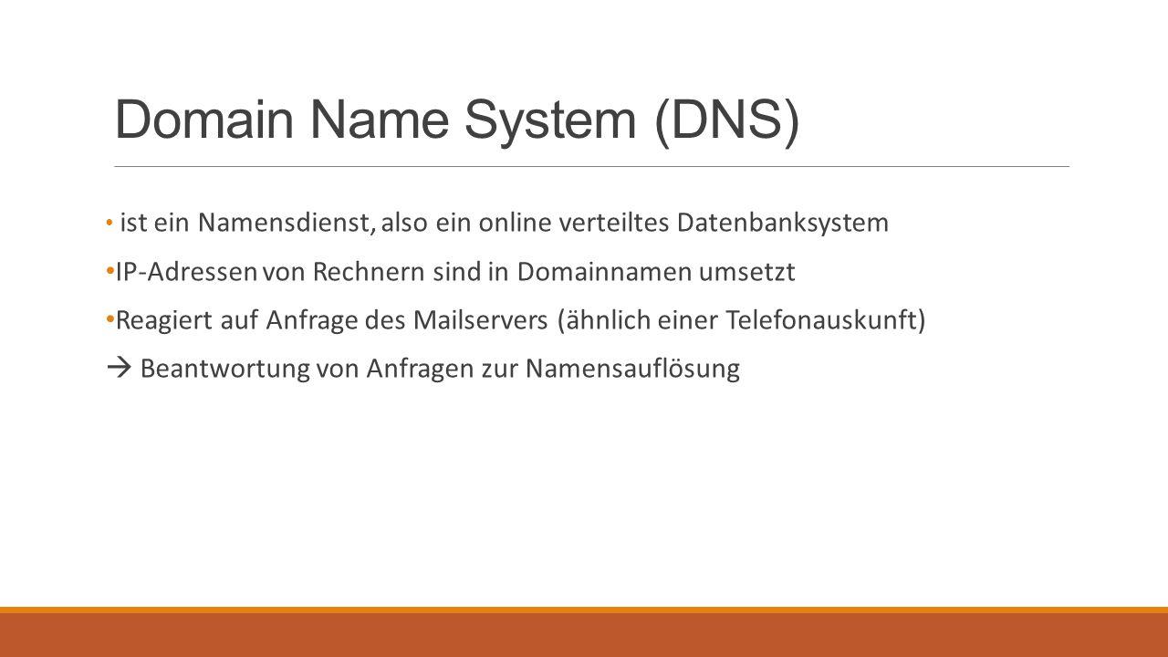 Domain Name System (DNS) ist ein Namensdienst, also ein online verteiltes Datenbanksystem IP-Adressen von Rechnern sind in Domainnamen umsetzt Reagier