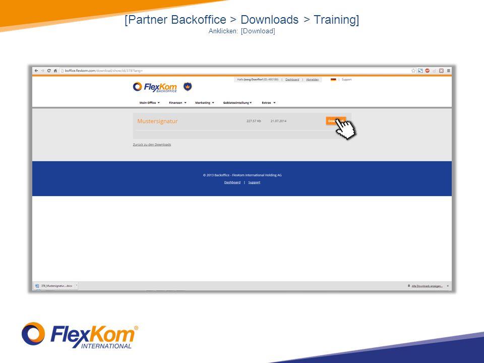 [Partner Backoffice > Downloads > Training] Anklicken: [Download]