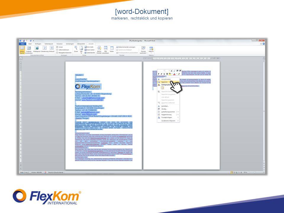 [word-Dokument] markieren, rechtsklick und kopieren