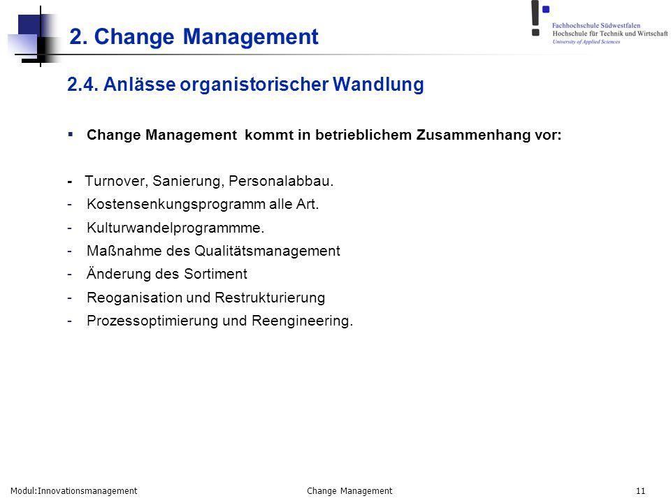Modul:Innovationsmanagement Change Management 11 2. Change Management 2.4. Anlässe organistorischer Wandlung  Change Management kommt in betriebliche