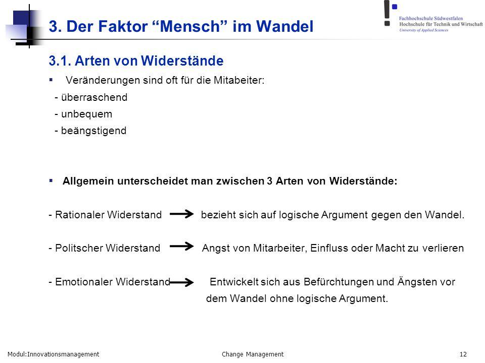 """Modul:Innovationsmanagement Change Management 12 3. Der Faktor """"Mensch"""" im Wandel 3.1. Arten von Widerstände  Veränderungen sind oft für die Mitabeit"""
