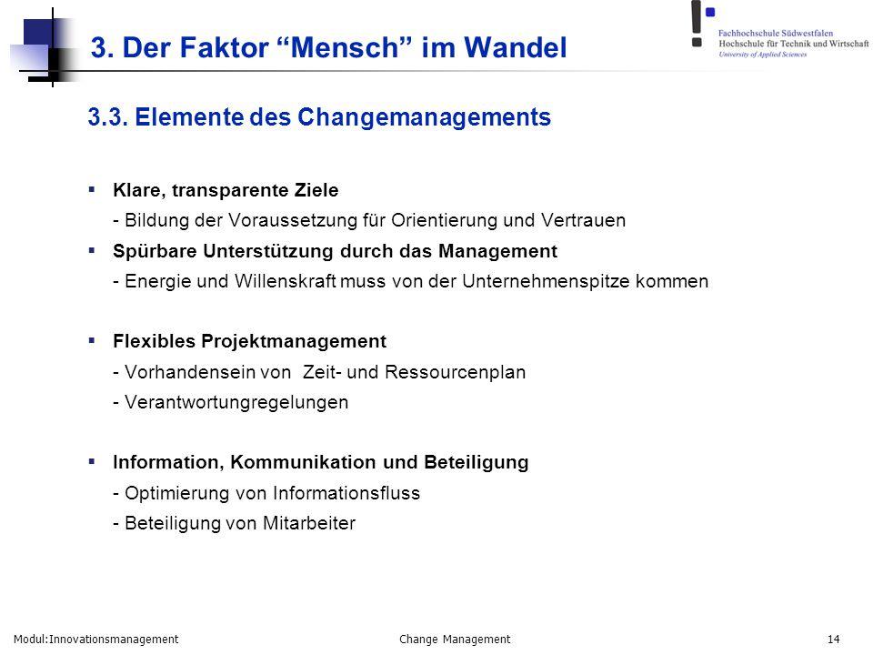 "Modul:Innovationsmanagement Change Management 14 3. Der Faktor ""Mensch"" im Wandel 3.3. Elemente des Changemanagements  Klare, transparente Ziele - Bi"