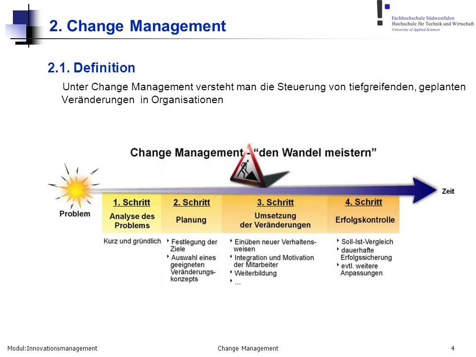 Modul:Innovationsmanagement Change Management 4 2. Change Management 2.1. Definition Unter Change Management versteht man die Steuerung von tiefgreife