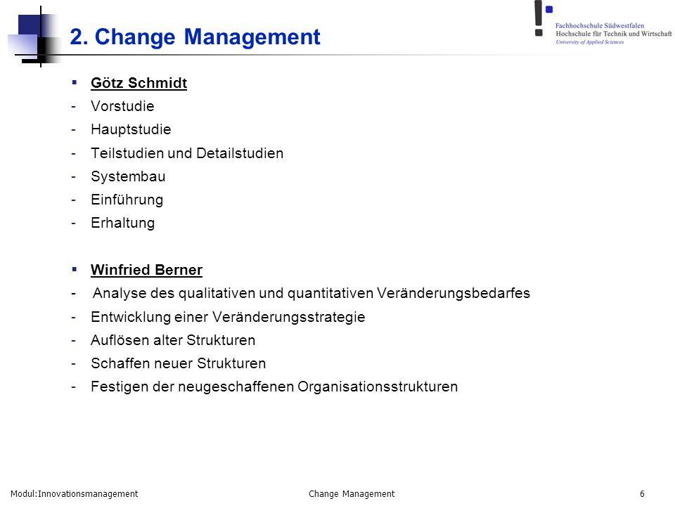 Modul:Innovationsmanagement Change Management 6 2. Change Management  Götz Schmidt -Vorstudie -Hauptstudie -Teilstudien und Detailstudien -Systembau