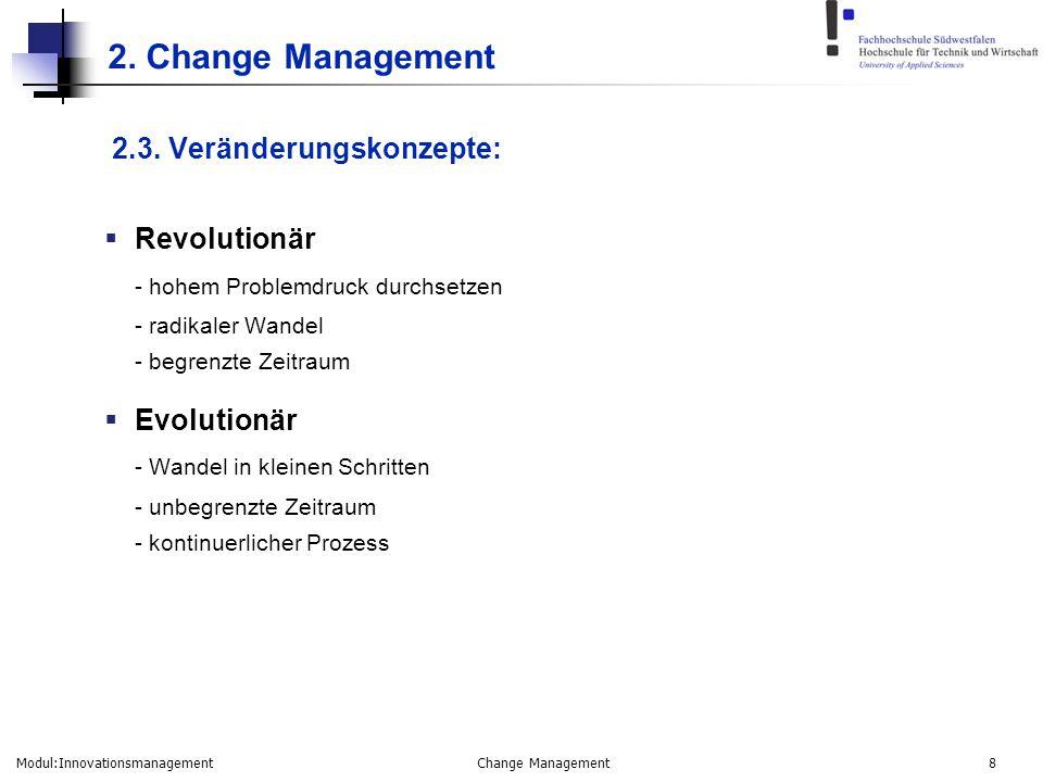 Modul:Innovationsmanagement Change Management 8 2. Change Management 2.3. Veränderungskonzepte:  Revolutionär - hohem Problemdruck durchsetzen - radi