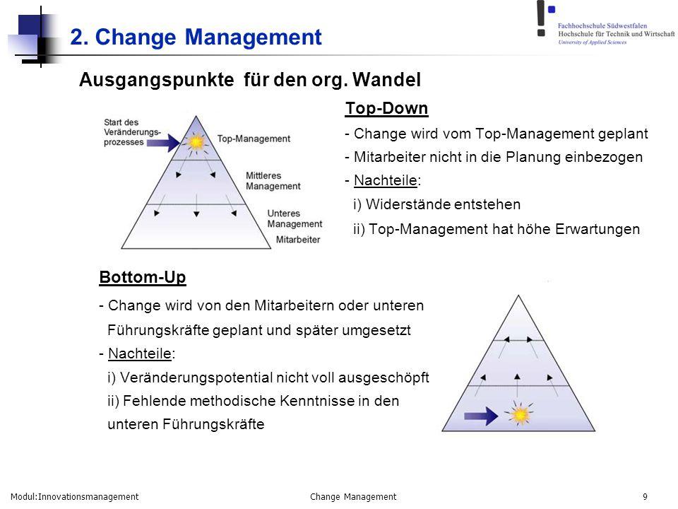 Modul:Innovationsmanagement Change Management 9 2. Change Management Ausgangspunkte für den org. Wandel Top-Down - Change wird vom Top-Management gepl