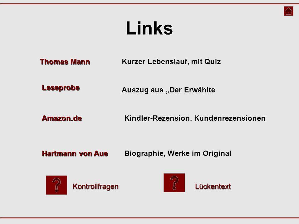 """Links Amazon.de Kindler-Rezension, Kundenrezensionen Thomas Mann Thomas MannKurzer Lebenslauf, mit Quiz Leseprobe Auszug aus """"Der Erwählte Hartmann vo"""