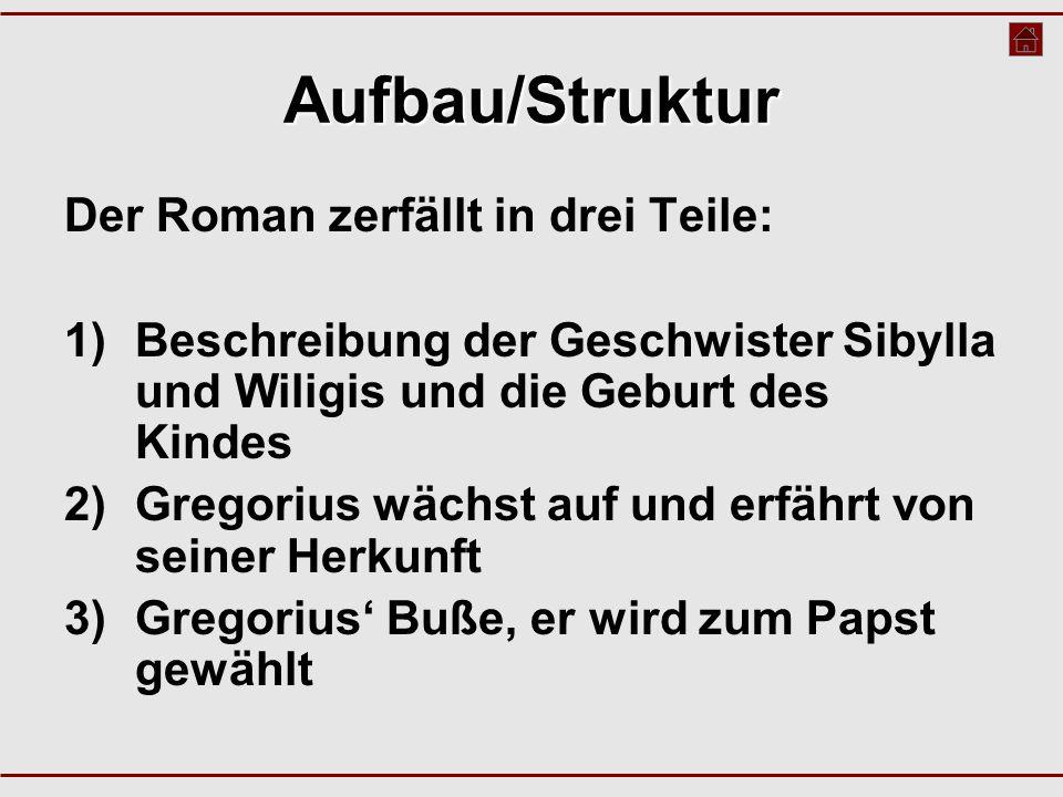Aufbau/Struktur Der Roman zerfällt in drei Teile: 1)Beschreibung der Geschwister Sibylla und Wiligis und die Geburt des Kindes 2)Gregorius wächst auf