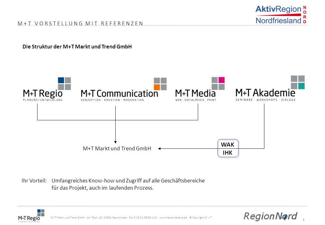 7 M+T Markt und Trend GmbH · Am Teich 18 · 24534 Neumünster · Fon 0 43 21/96 56 11-0 · www.marktundtrend.de · © Copyright M + T M+T VORSTELLUNG MIT REFERENZEN M+T Regio Team und Netzwerk Team Wolfhardt Bless Dipl.