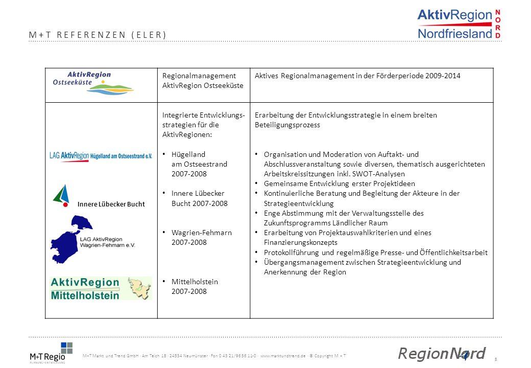 8 M+T Markt und Trend GmbH · Am Teich 18 · 24534 Neumünster · Fon 0 43 21/96 56 11-0 · www.marktundtrend.de · © Copyright M + T M+T REFERENZEN (ELER)