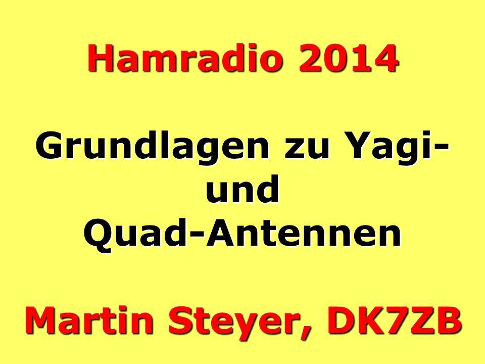 Hamradio 2014 Grundlagen zu Yagi- und Quad-Antennen Martin Steyer, DK7ZB