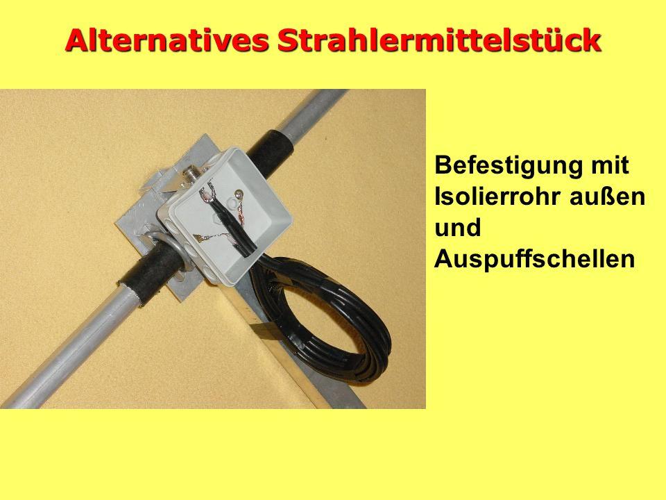 Konstruktion Strahlermittelstück Benötigte Teile: Alu-Winkelmaterial, GFK-Rohr in der Mitte, Stauff-Hydraulik-Schellen
