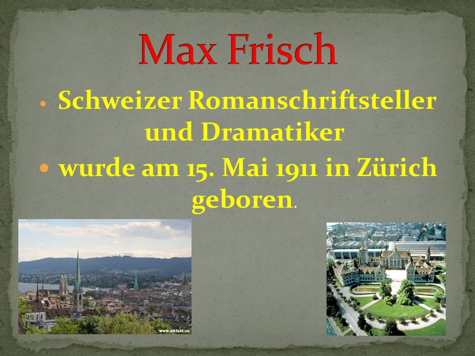 Schweizer Romanschriftsteller und Dramatiker wurde am 15. Mai 1911 in Zürich geboren.