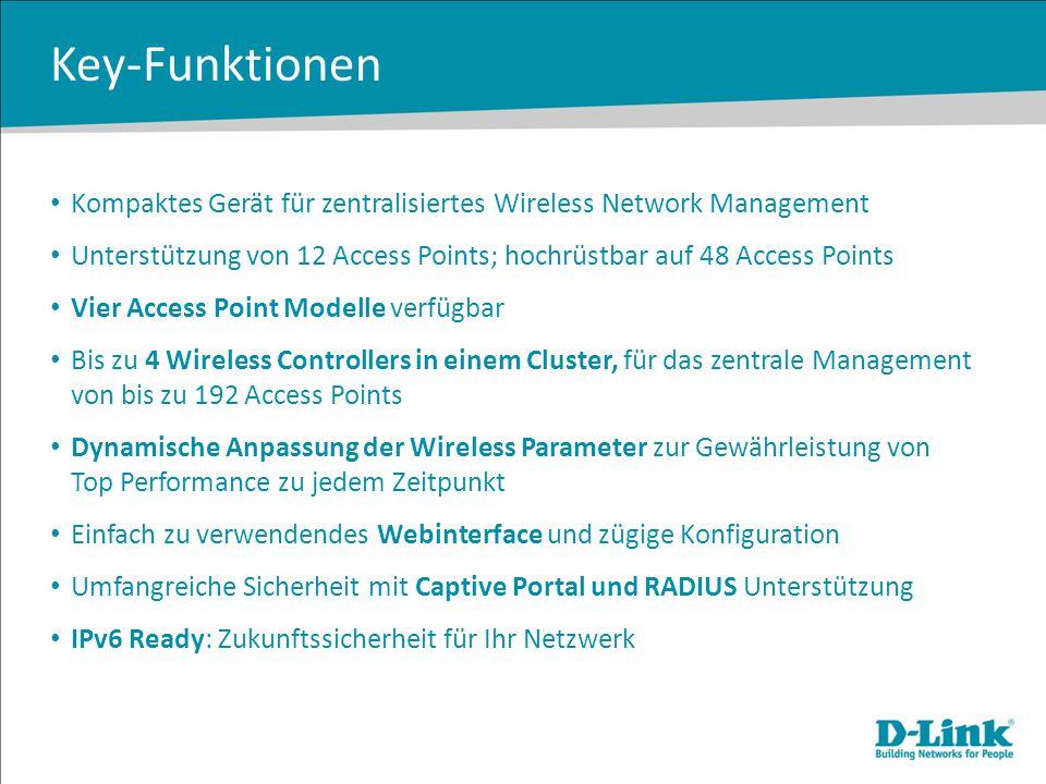 Key-Funktionen Kompaktes Gerät für zentralisiertes Wireless Network Management Unterstützung von 12 Access Points; hochrüstbar auf 48 Access Points Vi