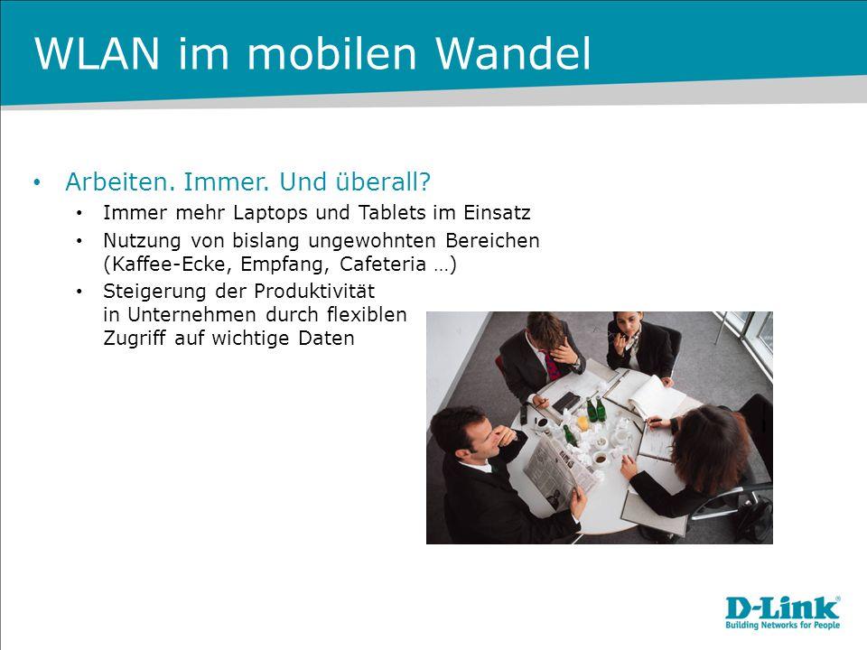 WLAN im mobilen Wandel Mobile Devices im Allgemeinen Smartphones und Tablets sind keine Besonderheit mehr E-Mails per Smartphone gehört zur Grundversorgung Wireless LAN und 3G/4G als einzige Verbindungsmöglichkeit Volumenbeschränkung für UMTS/LTE grenzt oftmals ein Teilweise schlechter Empfang innerhalb von Gebäuden