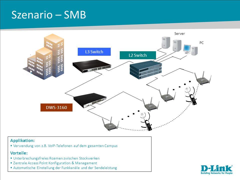 Szenario – SMB Applikation: Verwendung von z.B. VoIP-Telefonen auf dem gesamten Campus Vorteile: Unterbrechungsfreies Roamen zwischen Stockwerken Zent