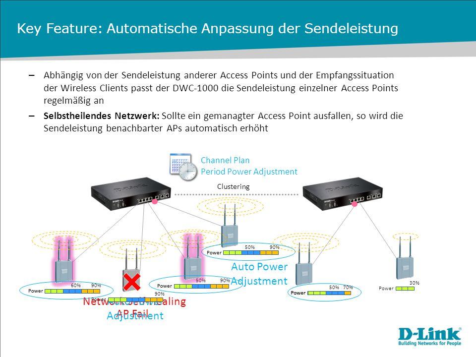 Key Feature: Automatische Anpassung der Sendeleistung – Abhängig von der Sendeleistung anderer Access Points und der Empfangssituation der Wireless Cl