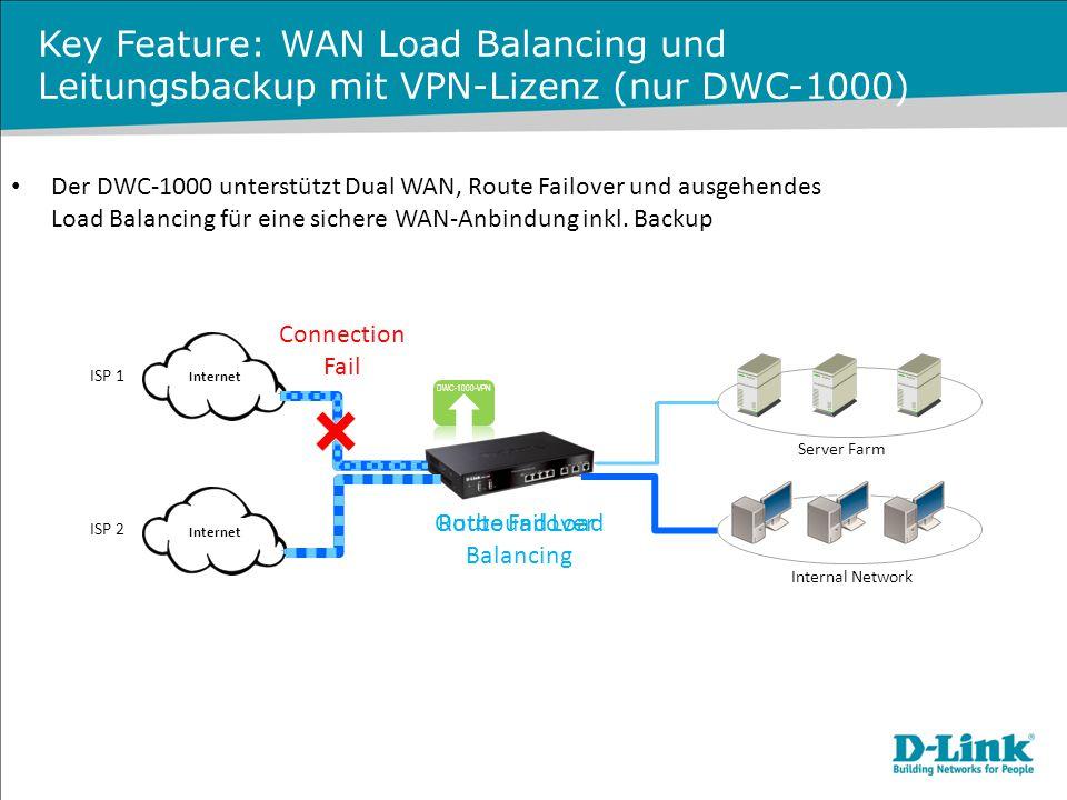 Key Feature: WAN Load Balancing und Leitungsbackup mit VPN-Lizenz (nur DWC-1000) Der DWC-1000 unterstützt Dual WAN, Route Failover und ausgehendes Loa