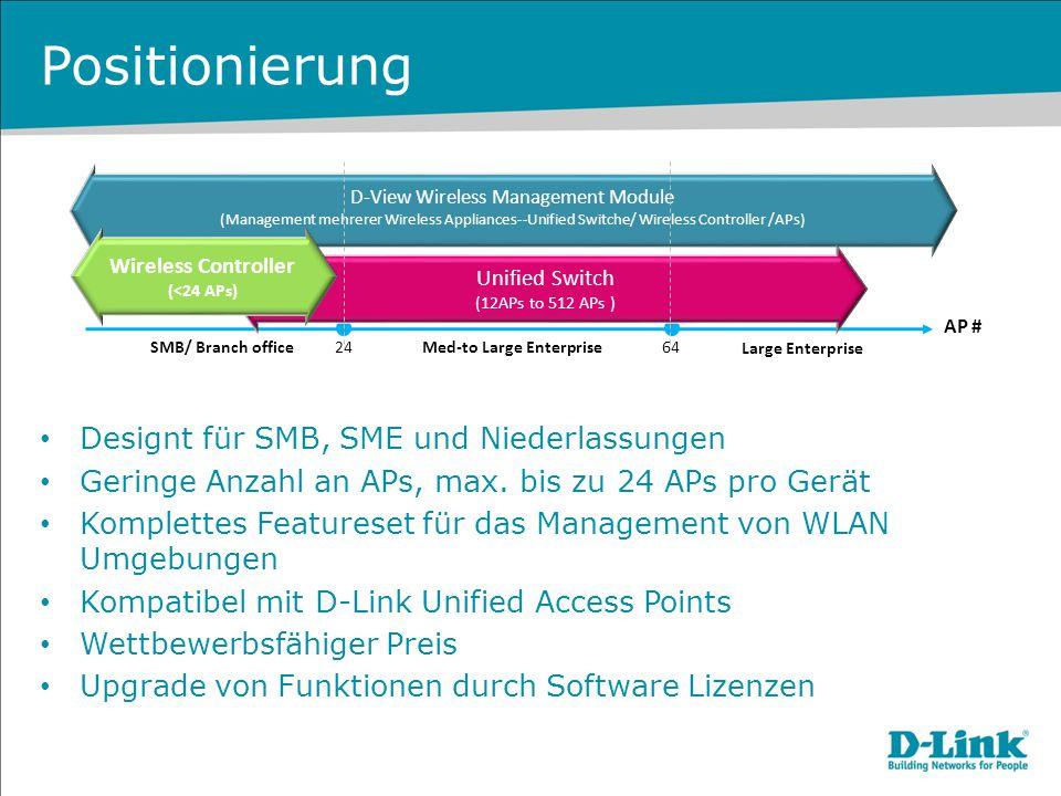 Positionierung Designt für SMB, SME und Niederlassungen Geringe Anzahl an APs, max. bis zu 24 APs pro Gerät Komplettes Featureset für das Management v