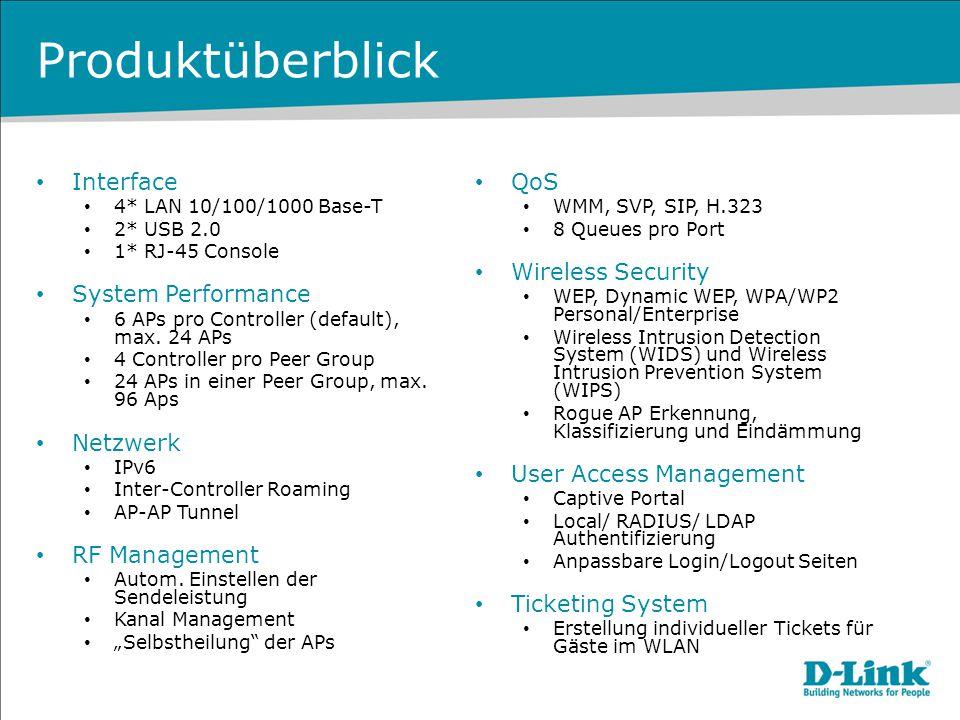 Produktüberblick – Upgrades DWC-1000 VPN Lizenz Interfaces 2* WAN 10/100/1000 Base-T VPN IPSec/ PPTP/L2TP/ SSL VPN VPN, max.
