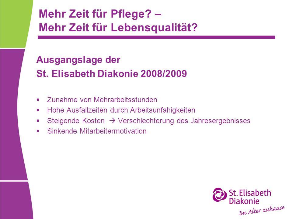Mehr Zeit für Pflege? – Mehr Zeit für Lebensqualität? Ausgangslage der St. Elisabeth Diakonie 2008/2009  Zunahme von Mehrarbeitsstunden  Hohe Ausfal