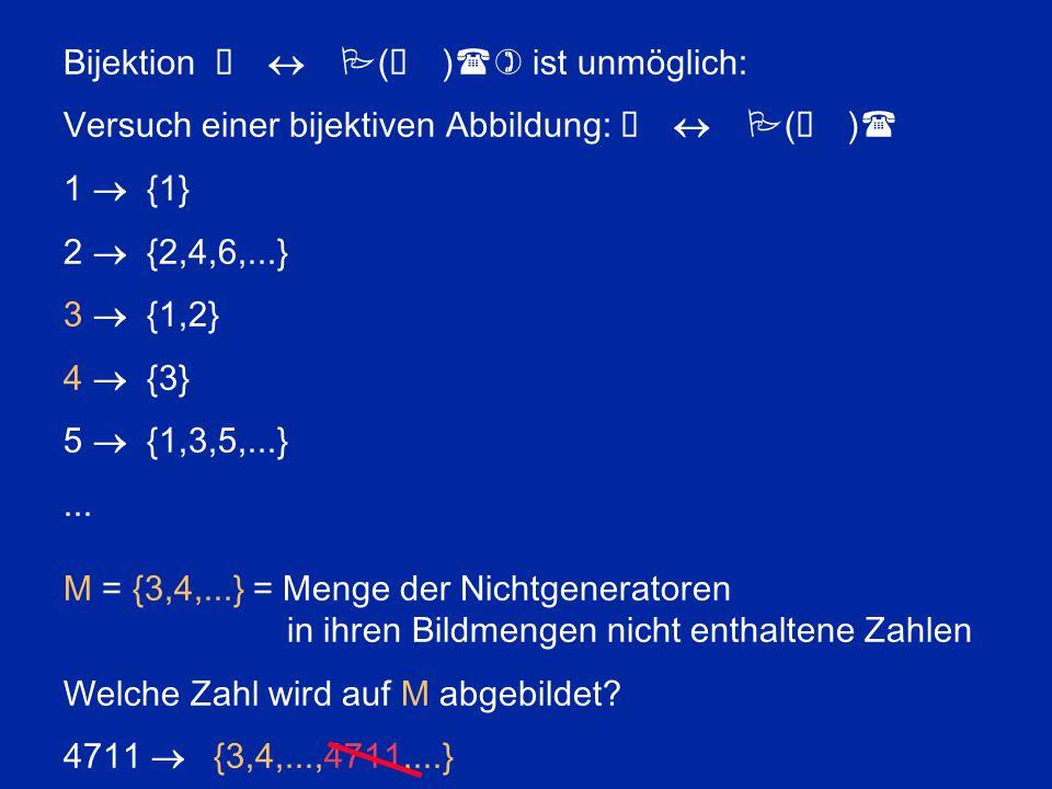 Unendliche Folge von aktualen Unendlichkeiten Transfinite Kardinalzahlen:  0 < 2  0 < 2 2  0 <...