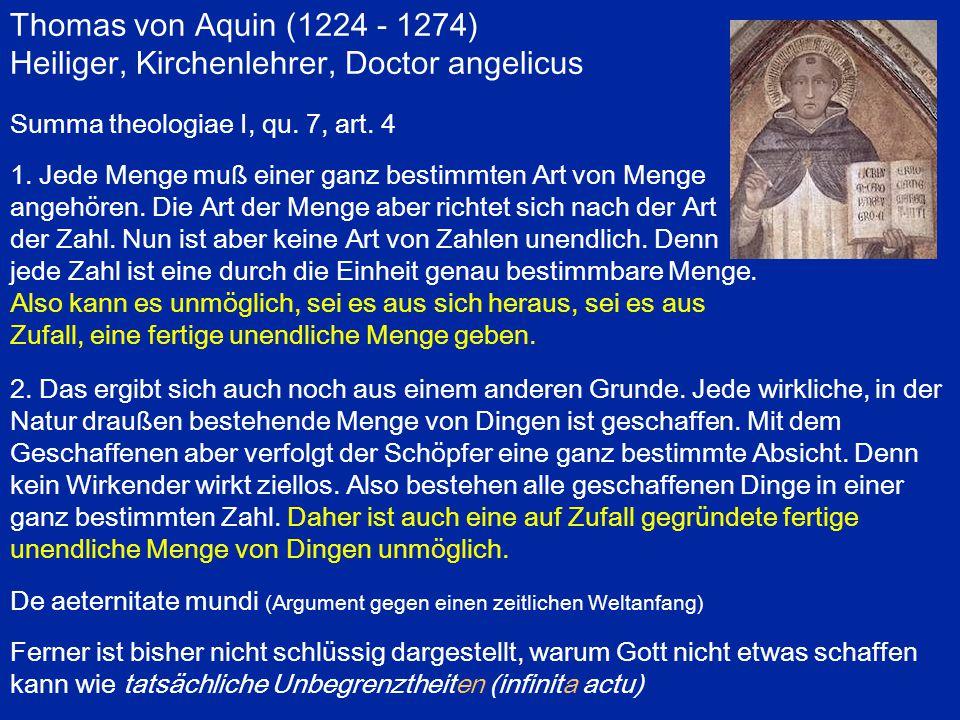 Gottfried Wilhelm Leibniz (1646 - 1716) Drei Grade der Unendlichkeit: 1) Gößer als jede nennbare Größe (dazu gehört das mathematische  ) Dafür drei Erklärungsniveaus: pour tout le monde: Ätherpartikel, Sandkorn, Erdkugel, Firmament für den Mathematiker: Jede Zahl ist endlich und bestimmbar.