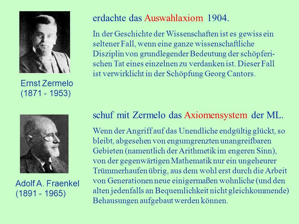 David Hilbert (1862 - 1943) Aus dem Paradies, das Cantor für uns geschaffen, soll uns niemand vertreiben können.
