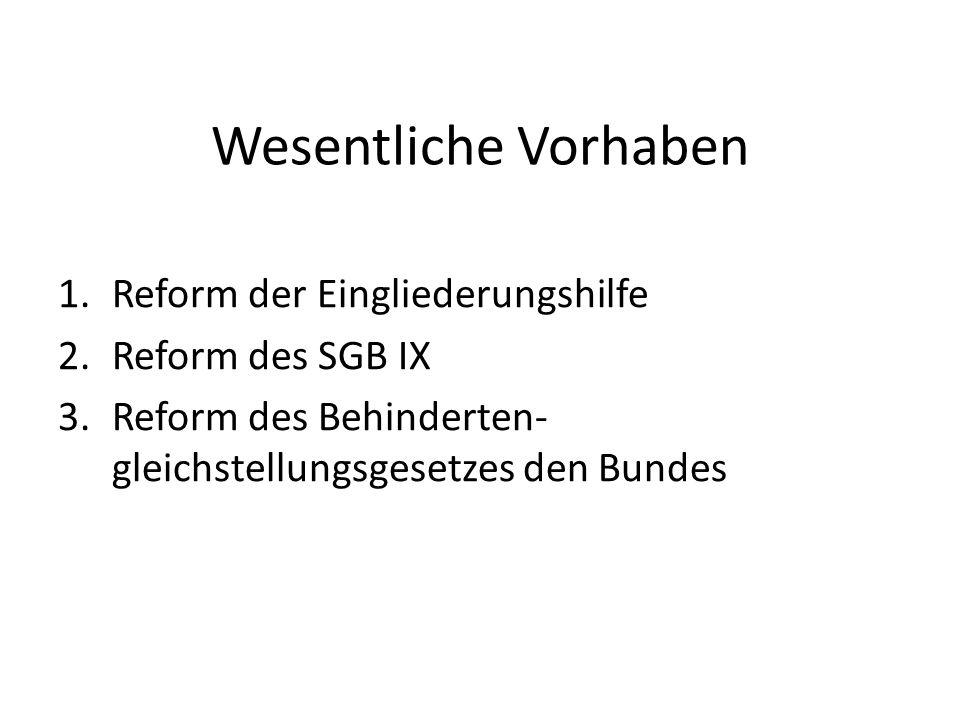 Wesentliche Vorhaben 1.Reform der Eingliederungshilfe 2.Reform des SGB IX 3.Reform des Behinderten- gleichstellungsgesetzes den Bundes