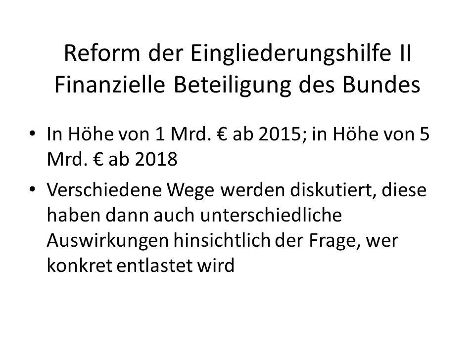 Reform der Eingliederungshilfe II Finanzielle Beteiligung des Bundes In Höhe von 1 Mrd.