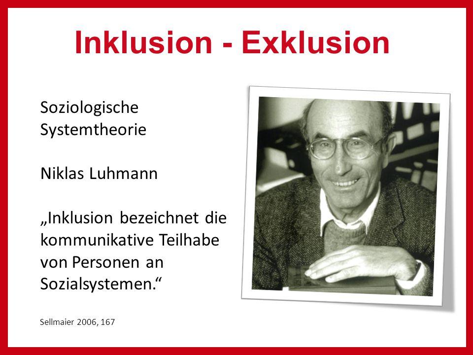 """Soziologische Systemtheorie Niklas Luhmann """"Inklusion bezeichnet die kommunikative Teilhabe von Personen an Sozialsystemen. Sellmaier 2006, 167 Inklusion - Exklusion"""