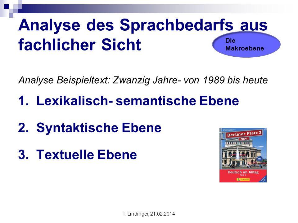 Analyse des Sprachbedarfs aus fachlicher Sicht Analyse Beispieltext: Zwanzig Jahre- von 1989 bis heute 1. Lexikalisch- semantische Ebene 2. Syntaktisc