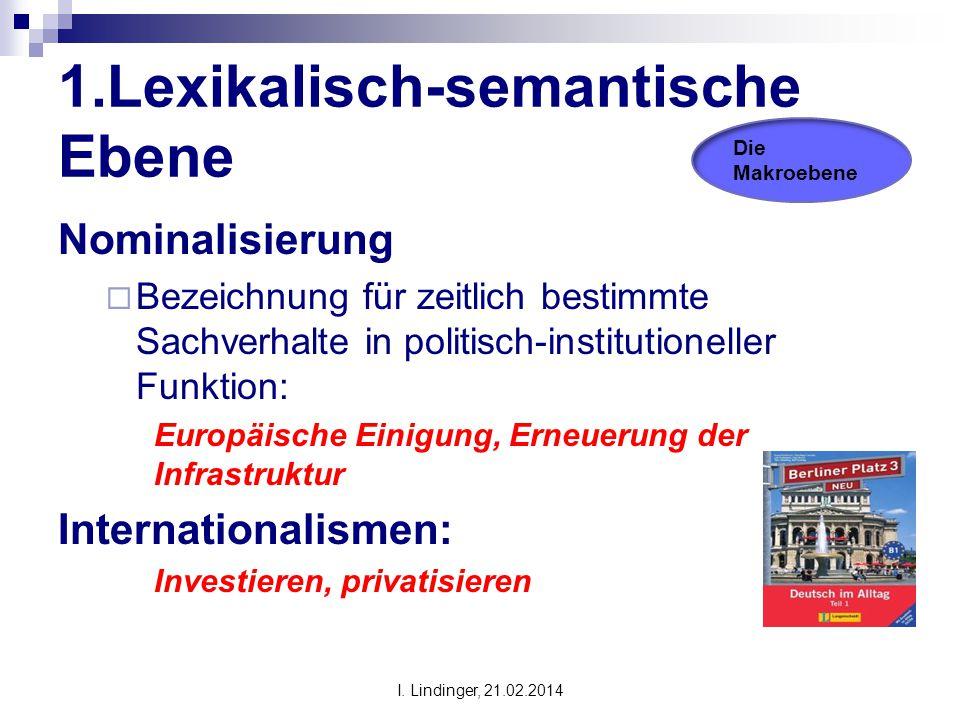 1.Lexikalisch-semantische Ebene Nominalisierung  Bezeichnung für zeitlich bestimmte Sachverhalte in politisch-institutioneller Funktion: Europäische