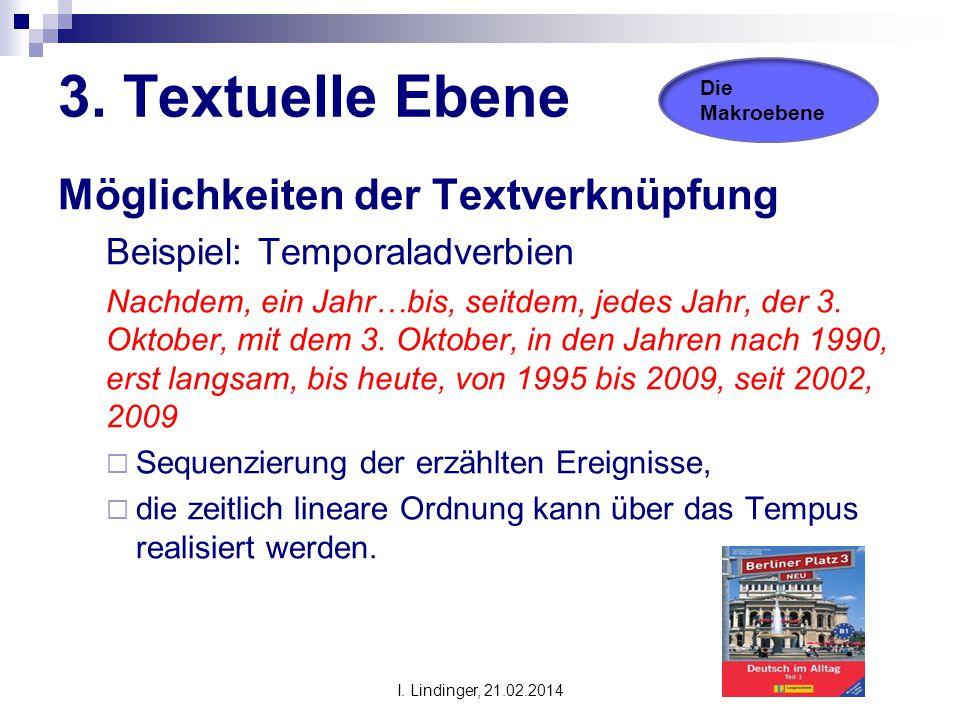 3. Textuelle Ebene Möglichkeiten der Textverknüpfung Beispiel: Temporaladverbien Nachdem, ein Jahr…bis, seitdem, jedes Jahr, der 3. Oktober, mit dem 3