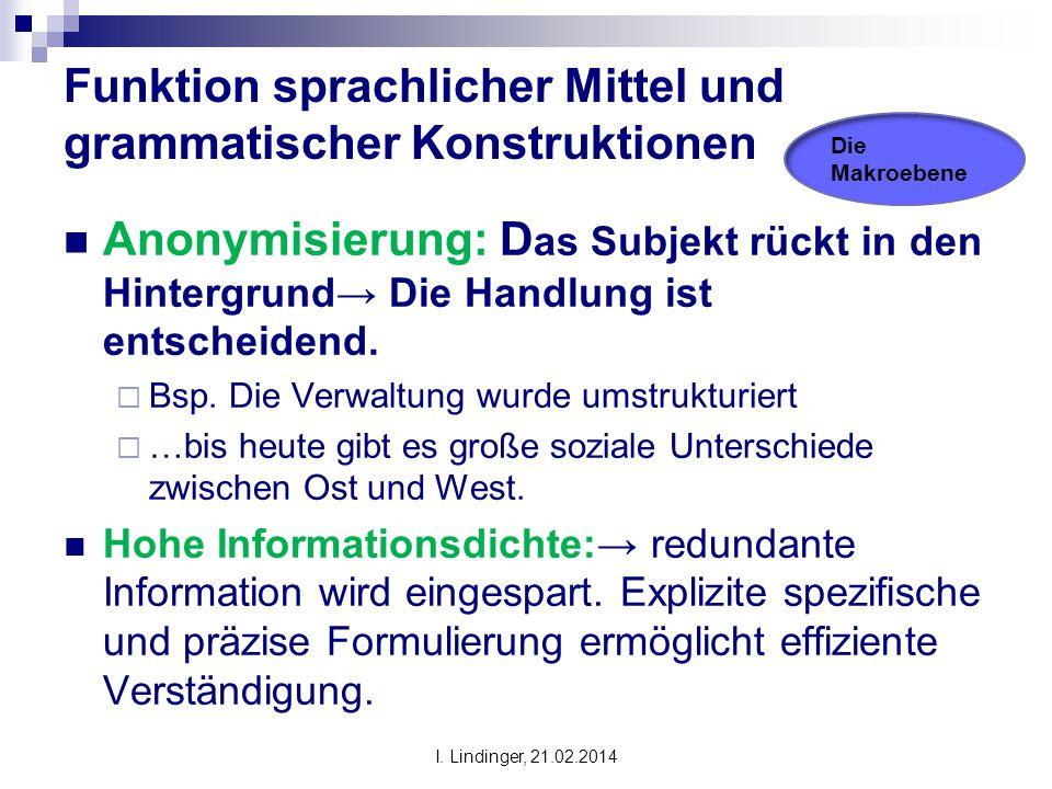 Funktion sprachlicher Mittel und grammatischer Konstruktionen Anonymisierung: D as Subjekt rückt in den Hintergrund→ Die Handlung ist entscheidend. 