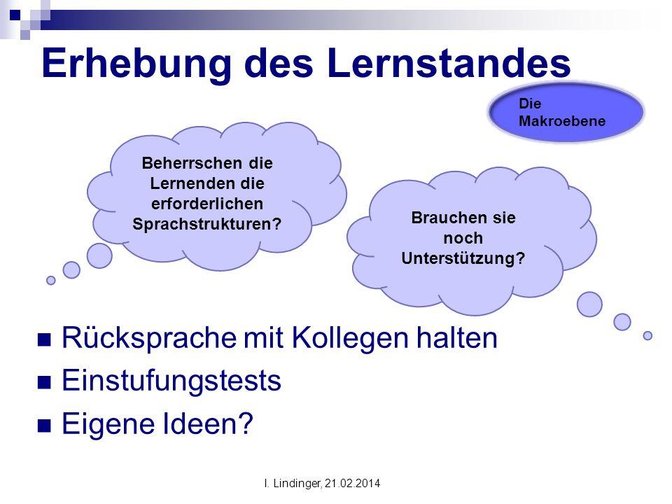 Erhebung des Lernstandes Rücksprache mit Kollegen halten Einstufungstests Eigene Ideen? Beherrschen die Lernenden die erforderlichen Sprachstrukturen?