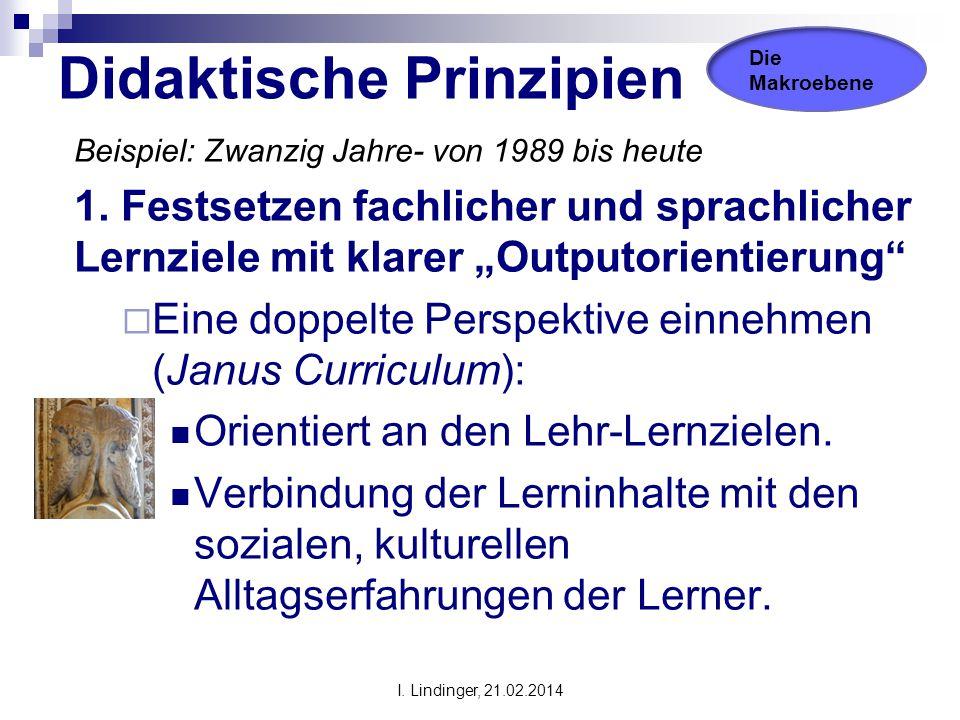 """Didaktische Prinzipien Beispiel: Zwanzig Jahre- von 1989 bis heute 1. Festsetzen fachlicher und sprachlicher Lernziele mit klarer """"Outputorientierung"""""""