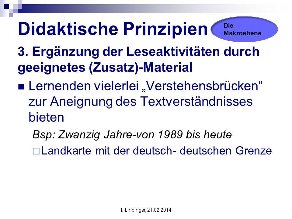 """Didaktische Prinzipien 3. Ergänzung der Leseaktivitäten durch geeignetes (Zusatz)-Material Lernenden vielerlei """"Verstehensbrücken"""" zur Aneignung des T"""