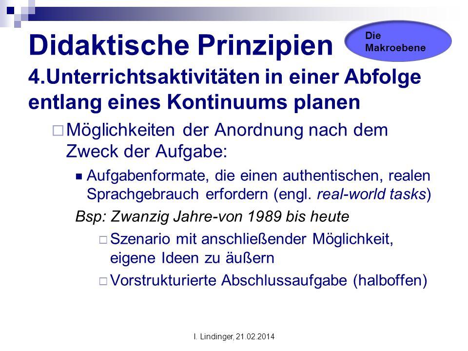 Didaktische Prinzipien 4.Unterrichtsaktivitäten in einer Abfolge entlang eines Kontinuums planen  Möglichkeiten der Anordnung nach dem Zweck der Aufg