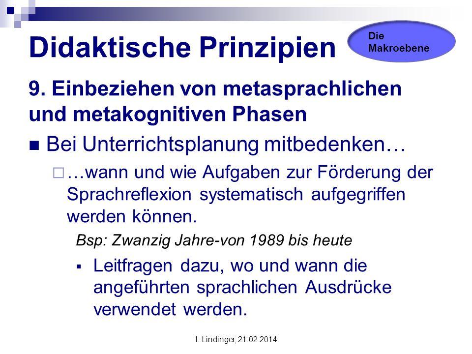 Didaktische Prinzipien 9. Einbeziehen von metasprachlichen und metakognitiven Phasen Bei Unterrichtsplanung mitbedenken…  …wann und wie Aufgaben zur