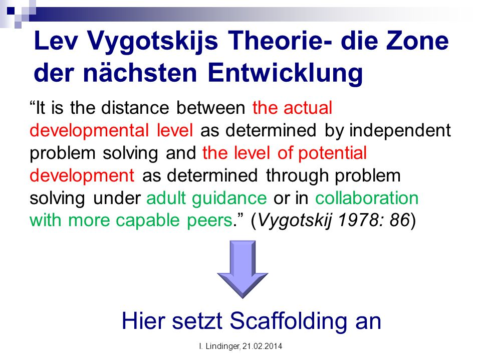 "Lev Vygotskijs Theorie- die Zone der nächsten Entwicklung ""It is the distance between the actual developmental level as determined by independent prob"