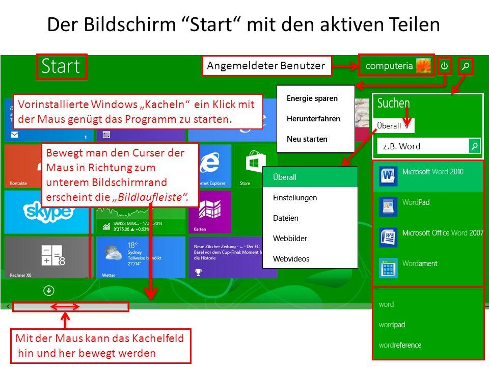 """Der Bildschirm """"Start"""" mit den aktiven Teilen Mit der Maus kann das Kachelfeld hin und her bewegt werden Vorinstallierte Windows """"Kacheln"""" ein Klick m"""