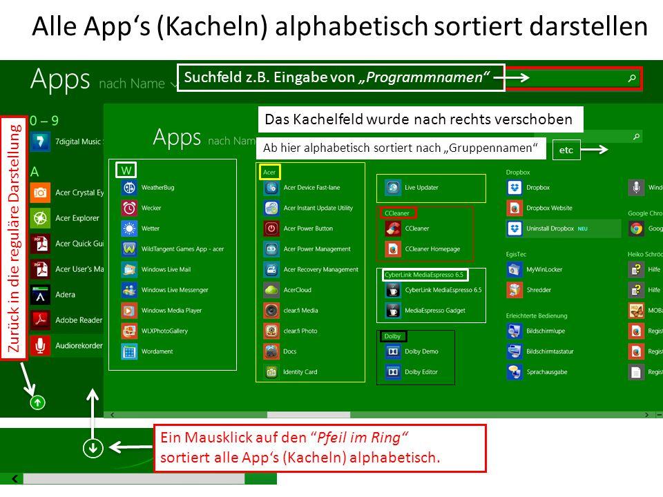 """Alle App's (Kacheln) alphabetisch sortiert darstellen Ein Mausklick auf den """"Pfeil im Ring"""" sortiert alle App's (Kacheln) alphabetisch. Zurück in die"""