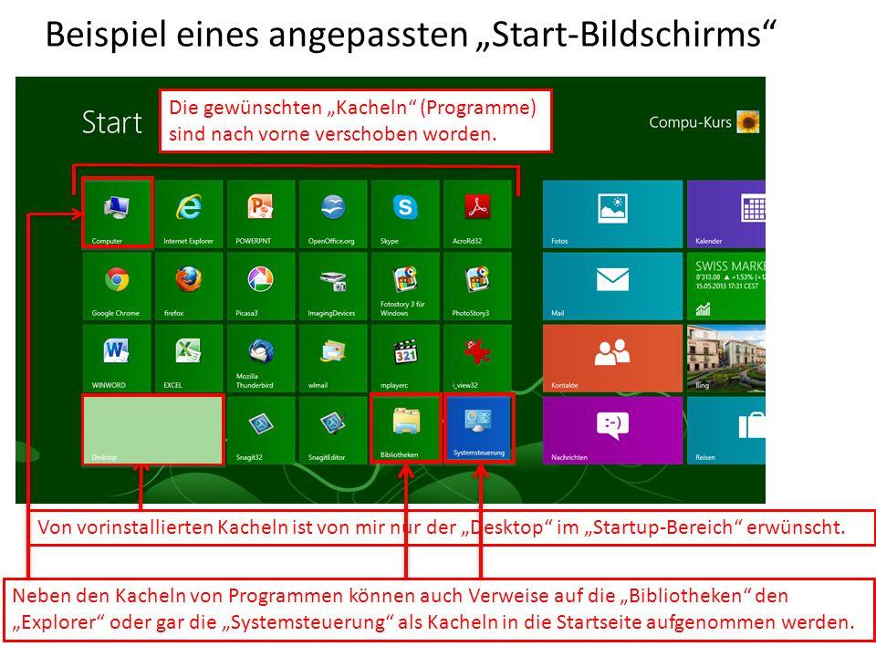 """Beispiel eines angepassten """"Start-Bildschirms"""" Die gewünschten """"Kacheln"""" (Programme) sind nach vorne verschoben worden. Neben den Kacheln von Programm"""