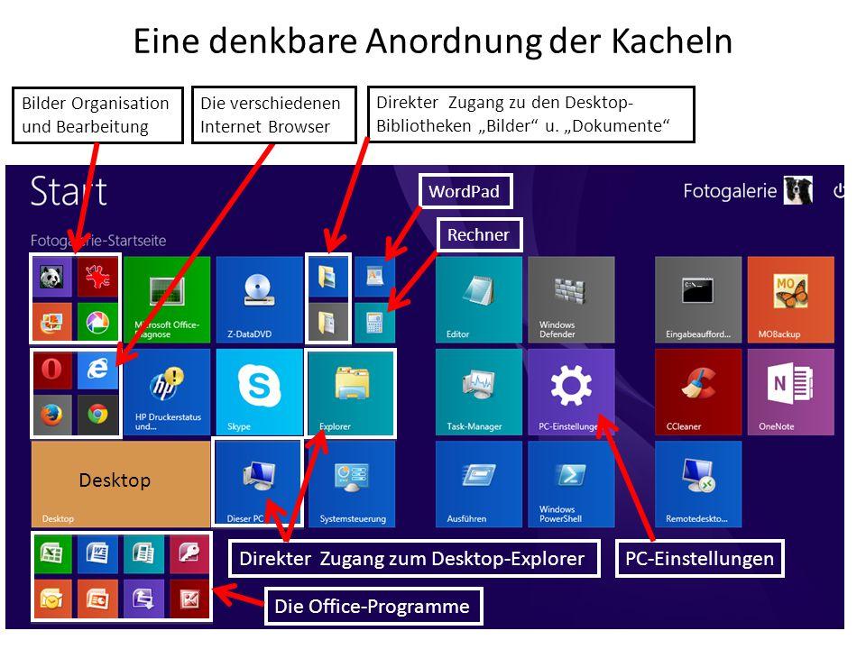 Eine denkbare Anordnung der Kacheln Bilder Organisation und Bearbeitung Die verschiedenen Internet Browser Die Office-Programme Desktop Direkter Zugan