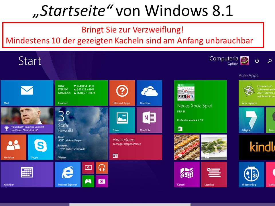 """""""Startseite"""" von Windows 8.1 Bringt Sie zur Verzweiflung! Mindestens 10 der gezeigten Kacheln sind am Anfang unbrauchbar"""