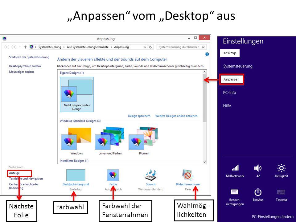 """""""Anpassen"""" vom """"Desktop"""" aus Anpassen Farbwahl Farbwahl der Fensterrahmen Wahlmög- lichkeiten Nächste Folie Desktop"""
