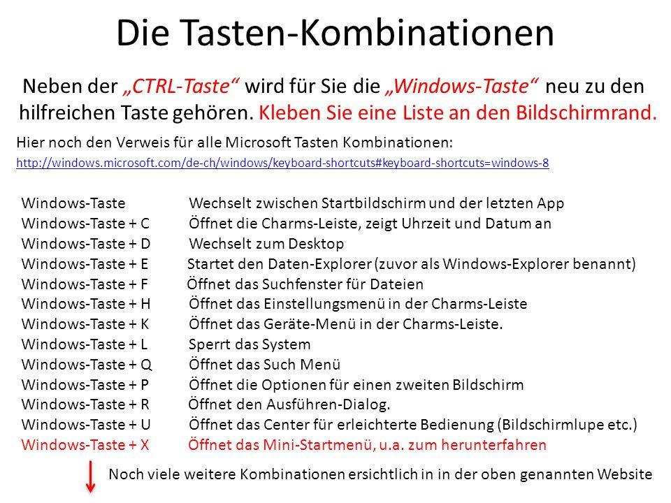 """Die Tasten-Kombinationen Neben der """"CTRL-Taste"""" wird für Sie die """"Windows-Taste"""" neu zu den hilfreichen Taste gehören. Kleben Sie eine Liste an den Bi"""