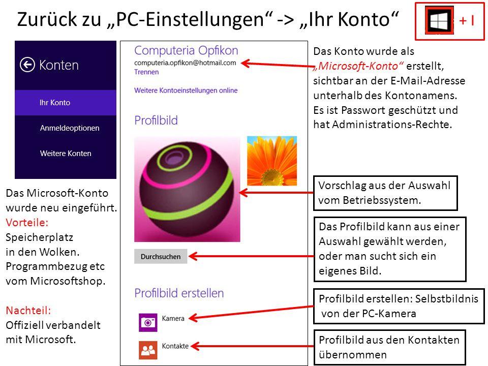 """Zurück zu """"PC-Einstellungen"""" -> """"Ihr Konto"""" Das Konto wurde als """"Microsoft-Konto"""" erstellt, sichtbar an der E-Mail-Adresse unterhalb des Kontonamens."""