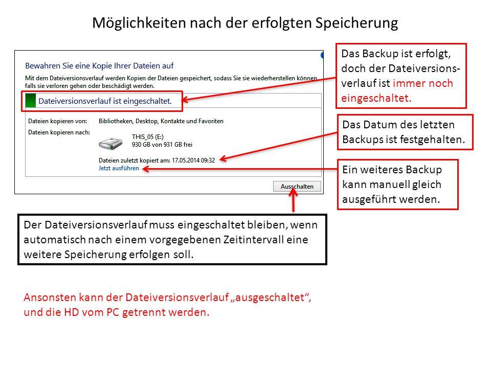 Möglichkeiten nach der erfolgten Speicherung Das Backup ist erfolgt, doch der Dateiversions- verlauf ist immer noch eingeschaltet. Der Dateiversionsve